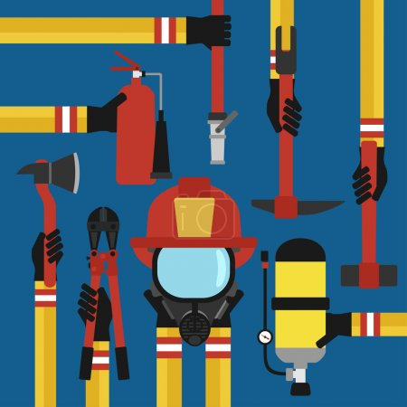 Fire fighting design concept flat set