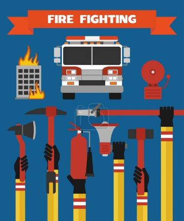 Illustration pour Lutte contre l'incendie design moderne illustration plate - image libre de droit