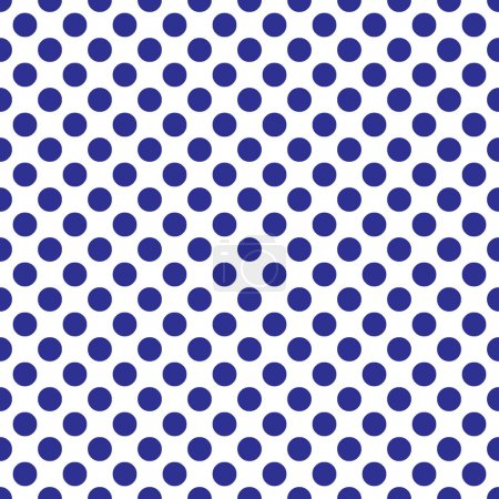 Illustration for Beautiful Seamless vector blue polka dots pattern on white background, scaled at any size & use for wallpaper, pattern, web page background, surface textures. Available in jpeg and eps formats, to modify, software require such as Adobe Illustrator. - Royalty Free Image