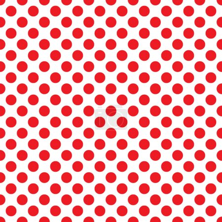 Seamless vector red polka dots pattern on white background