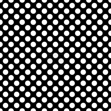 Illustration for Beautiful Seamless vector white polka dots pattern on black background, scaled at any size & use for wallpaper, pattern, web page background, surface textures. Available in jpeg and eps formats, to modify, software require such as Adobe Illustrator. - Royalty Free Image