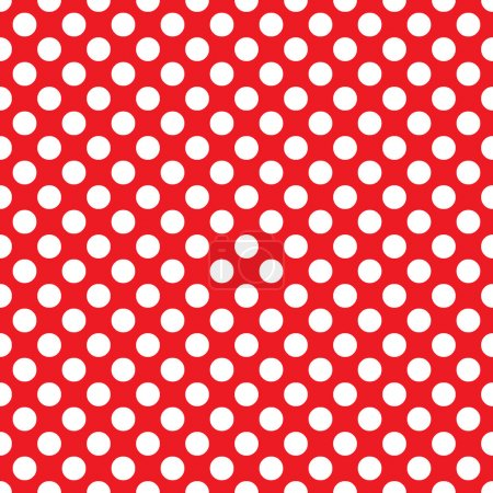 Illustration for Beautiful seamless vector white polka dots pattern on red background, scaled at any size & use for wallpaper, pattern, web page background, surface textures. Available in jpeg and eps formats, to modify, software require such as Adobe Illustrator. - Royalty Free Image