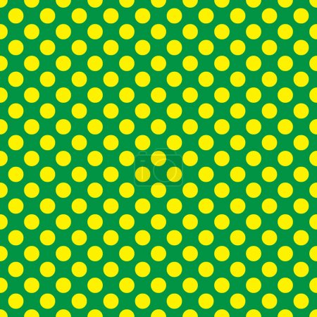Seamless vector yellow polka dots pattern on green background
