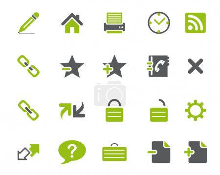 Stock Vector green grey web and office icons in high resolution.