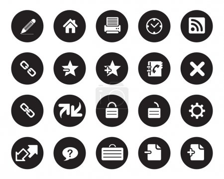Stock vector white web and office icons on black circle, high resolutions.