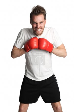 Boxing man with red gloves