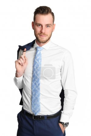 Photo pour Young and attractive businessman standing against a white background wearing a blue jacket and white shirt. White background. - image libre de droit
