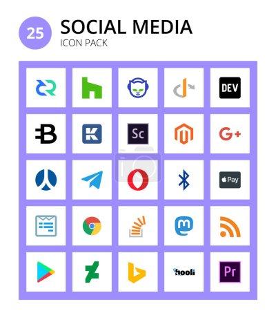 Pack of 25 Social Logo pay, bluetooth, adobe, oper...