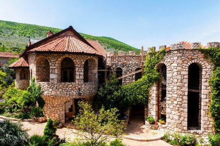 Architectural details of the stone castle in Mediterranean style