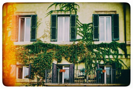 Balconies full of of flowers and greenery decorate houses and streets in Rome, Italy