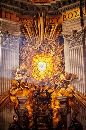 VATICAN CITY, VATICAN - OCTOBER 29: Masterpieces of Bernini; Chair of St. Peter and Gloria, the descent of the Holy Spirit in apse of basilica of St. Peter's in Rome, Italy on October 29, 2014