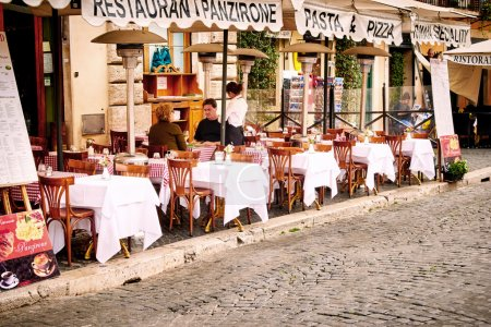 ROME, ITALY - OCTOBER 29: Guests sit on the beautifull restauran