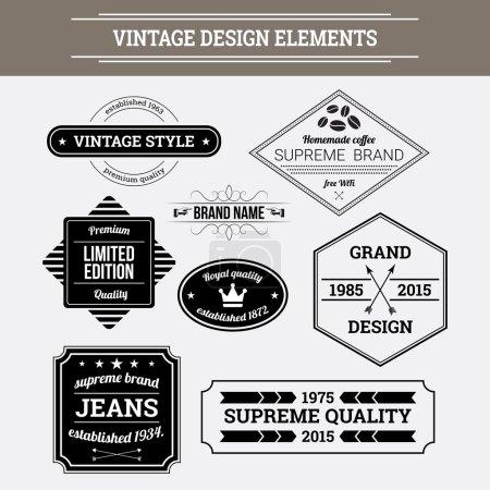 Illustration pour Eléments de design vectoriel vintage. Étiquettes typographiques, insignes, flèches et emblèmes de style rétro . - image libre de droit