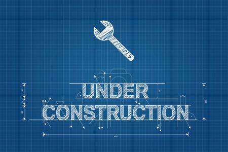 Illustration for Under construction blueprint, technical drawing, scribble style with wrench - Royalty Free Image