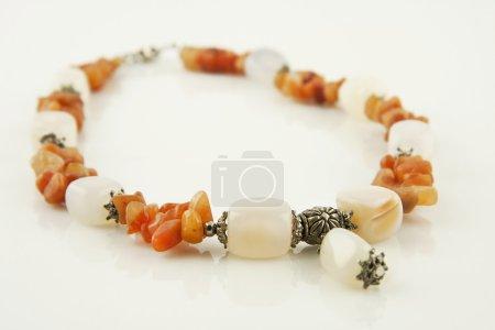 Onyx necklace isolated on  white  background