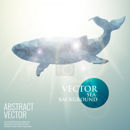 Illustration for Vector sea underwater abstract background. Polygonal triangular bright sunny whale mammals - Royalty Free Image