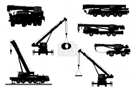 Set Crane Silhouette on a white background. Vector...