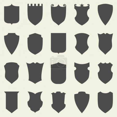 Illustration for Set of blank empty dark shields. Shield badge vector shapes icon - Royalty Free Image