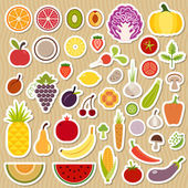 Icons of fruits and vegetables for menu