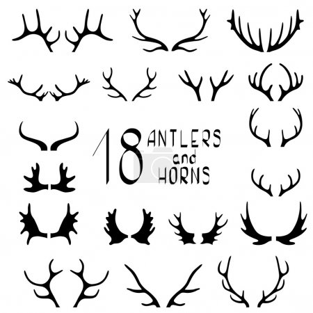 Illustration for Set of 18 deer antlers and horns isolated on white. Set of different antlers large, branched and acute - Royalty Free Image