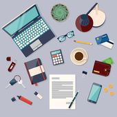 Workplace concept Flat design modern vector illustration Top view of desk background with laptop digital devices office objects books and documents