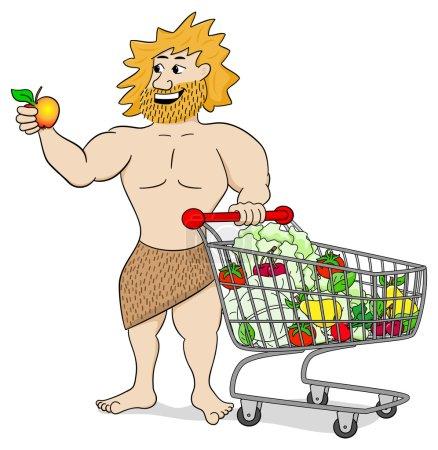 Illustration pour Illustration vectorielle d'un homme des cavernes avec chariot rempli de fruits et légumes - image libre de droit