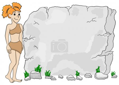 cave woman in front of stone tablet with copy space