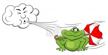 Illustration for Vector illustration of a cartoon cloud blowing wind on a frog with umbrella - Royalty Free Image