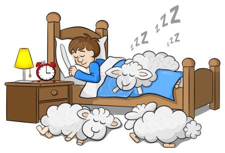 sheep fall asleep on the bed of a sleeping man