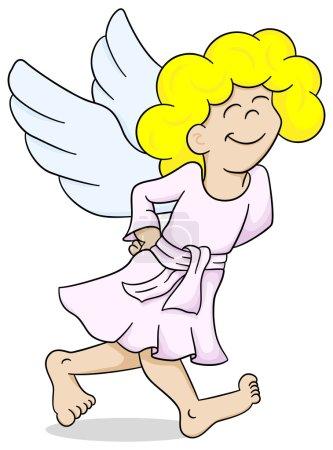 dessin animé ange marche satisfait