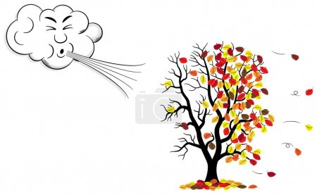 Illustration for Vector illustration of a cartoon cloud that blows wind to a tree who loses fall foliage - Royalty Free Image