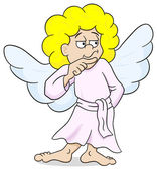 pensive looking cartoon angel