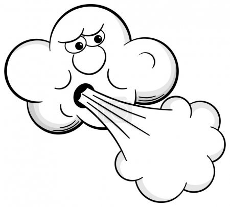 Illustration for Vector illustration of a cartoon cloud that blows wind - Royalty Free Image