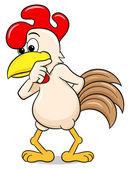 Vector illustration of a perplexed cartoon chicken