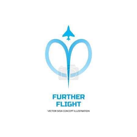 Further flight - vector logo concept illustration. Airplane logo sign. Aircraft logo sign. transport logo sign. Airbus logo sign. Airlines logo sign. Vector logo template. Design element.