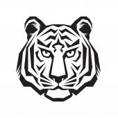 Tiger head - vector logo concept illustration in classic graphic style Tiger head silhouette sign Tiger head tattoo vector illustration Bengal tiger head creative illustration Black & white