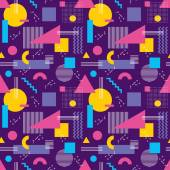 Abstract background vector seamless pattern in fashion retro style of Memphis italian design group 80s Abstract violet geometric seamless pattern for fabric design paper print and website backdrop