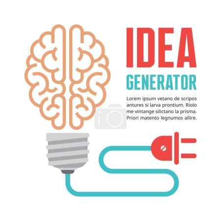 Illustration pour Le cerveau humain dans l'illustration vectorielle d'ampoule. Générateur d'idées - concept infographique créatif pour la présentation, livret, site Web et autres projets de conception. Éléments vectoriels . - image libre de droit