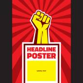 Hand Up Proletarian Revolution - Vector Illustration Concept in Soviet Union Agitation Style Fist of revolution Vertical poster template