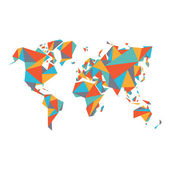Abstract World Map - Vector illustration - Geometric Structure in flat color for presentation booklet website and other design projects