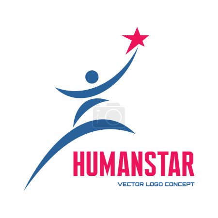 Human star - vector logo concept illustration for business company, media portal, sport club, creative agency etc. Human character. People logo sign. Vector logo template. Design element.
