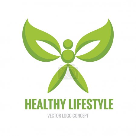 Illustration for Healthy Lifestyle - vector logo concept illustration. Human character. Ecology vector logo. Organic logo concept. Design element. - Royalty Free Image