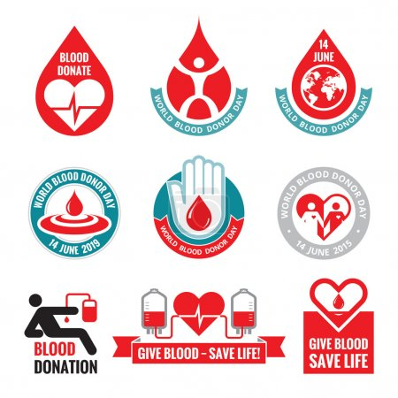 Blood donation - vector logo badges collection. World blood donor day - 14 June. Heart and blood drop illustration. Blood donate vector set. Design elements.