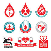 Blood donation - vector logo badges collection World blood donor day - 14 June Heart and blood drop illustration Blood donate vector set Design elements