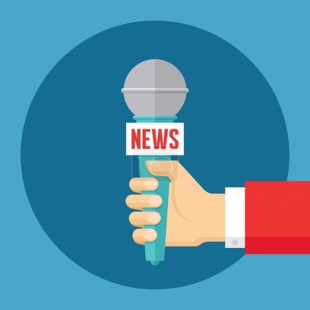 News vector concept illustration in flat style design. Journalism concept vector illustration. Press illustration. Human hand with a microphone. Design element.
