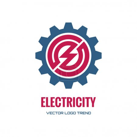 Electricity - vector logo concept illustration. Gear logo. Factory logo. Technology logo. Mechanical logo. Vector logo template. Design element.