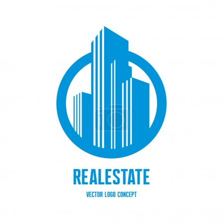 Illustration for Real estate logo concept illustration. Building logo in classic graphic style. Cityscape logo. Abstract vector logo of buildings. Skyscrapers logo. Vector logo template. Design element. - Royalty Free Image
