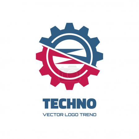 Techno - vector logo concept illustration. Gear logo. Factory logo. Technology logo. Mechanical logo. Vector logo template. Design element.