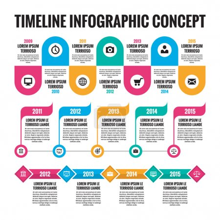Infographic vector concept in flat design style - timeline template for presentation, booklet, web and other creative design projects. Three schemes. Design elements.