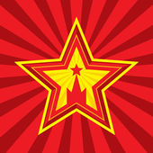 Star with Kremlin symbol - vector concept illustration in Soviet Union agitation style Russia and USSR symbol Moscow symbol Red background Minimal style Design element